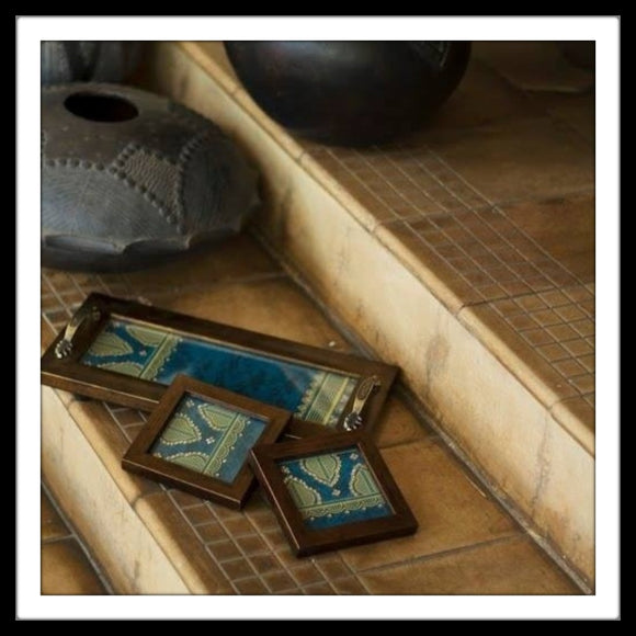 Blue Geometrical Tray & 2 Coasters Set