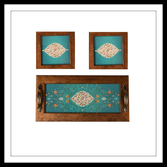 Teal Mughal Tray & 2 Coasters