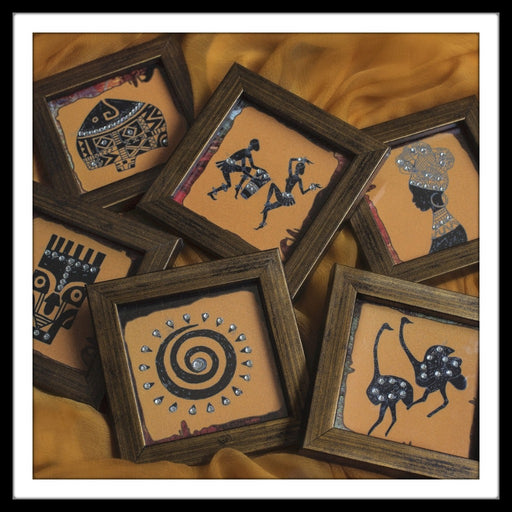 decorative coasters with african print of motifs in rust and black