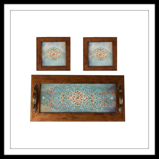 Light Blue Mughal Tray & 2 Coasters - Footprints Forever