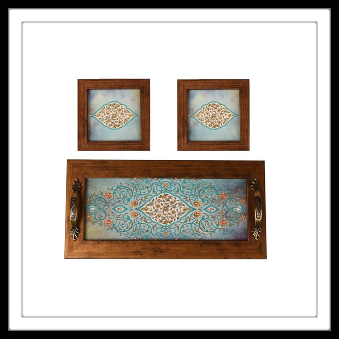 Light Blue Mughal Tray & 2 Coasters