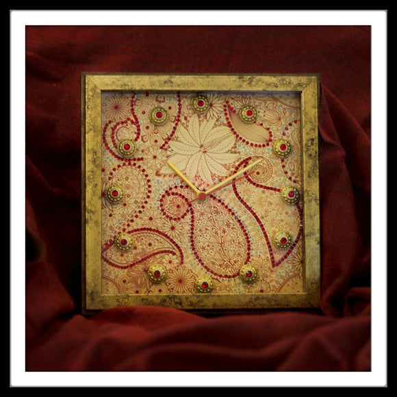 Golden and Red Paisley Clock