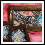 Grey Floral Tray & 2 Coasters Set