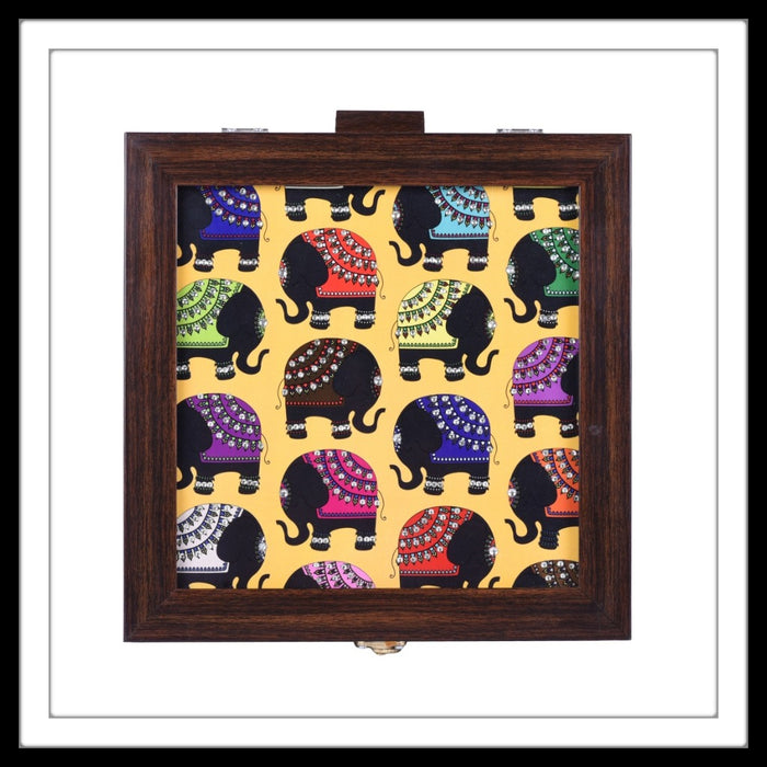 multipurpose box with multicolour elephant print on yellow background
