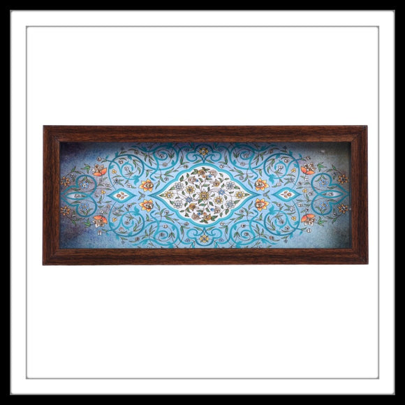 handmade multipurpose blue tray mughal print hand embellished with crystals.
