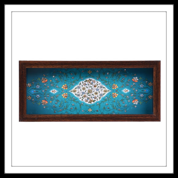 Handmade teal and white  tray  with mughal print and crystal work, suitable for gifting and weddings