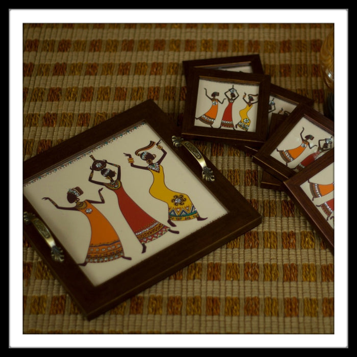 African Ladies Tray with Coasters