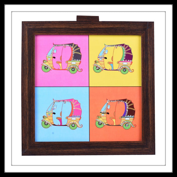Kitschy multipurpose colourful box with auto/ tuk-tuk print