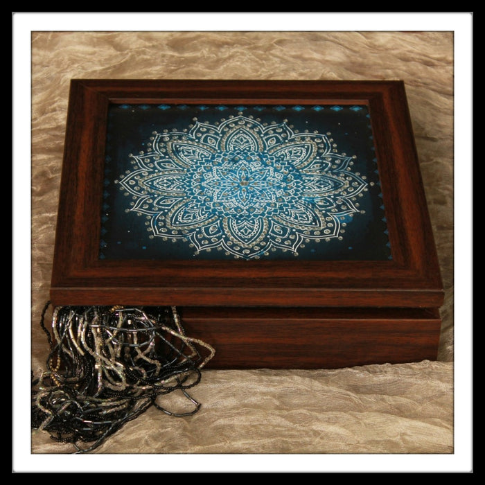 Blue Shibori Jewellery Box - Footprints Forever