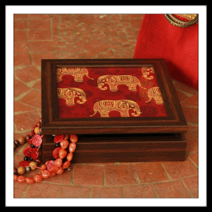 Red Elephant print bedazzled square jewellery box for gifting and home use.