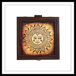 Handmade Jewellery Wooden Box with Sun God print hand embellished with crystals.