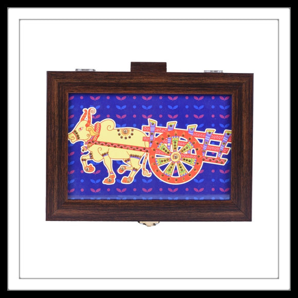 Kitschy multipurpose colourful box with yellow bullock cart print