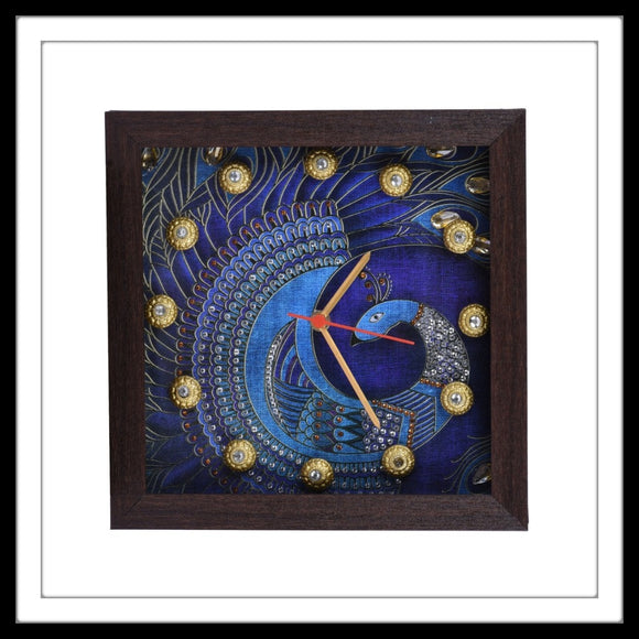 Purple Peacock Clock