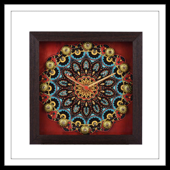 Handmade Wooden Red and Clock with mandala print embellished with crystals and brass stones.