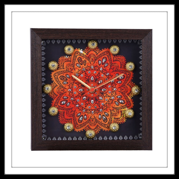 Blue & Orange Mandala Clock