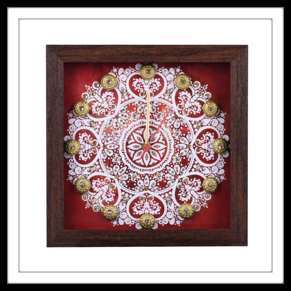 Square Clock with White mandala print on red background hand embellished with crystals and brass stones. Ideal for gifting.