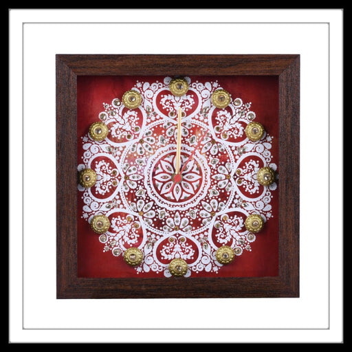 Red and White  Mandala Clock - Footprints Forever