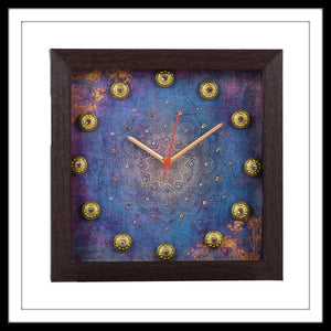 Handmade Clock embellished with crystals and brass stones on an abstract purple background