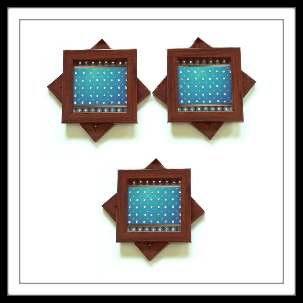 Bedazzled Blue Coasters - Footprints Forever