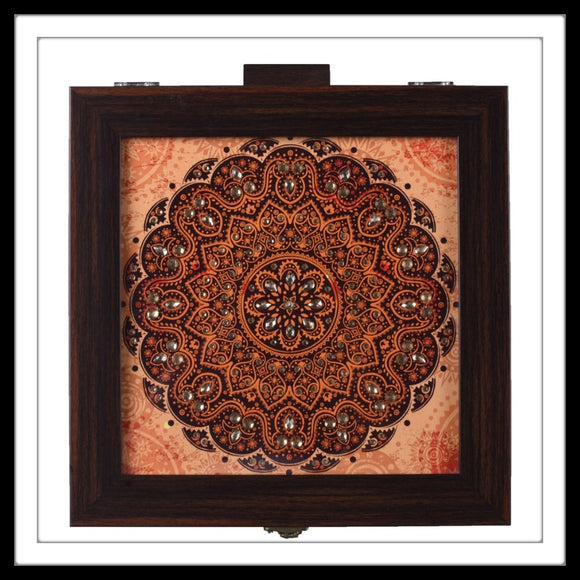 Rust Mandala Bangle Box