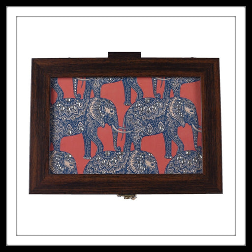 wooden multipurpose box with batik elephant print, ideal for gifting and home use