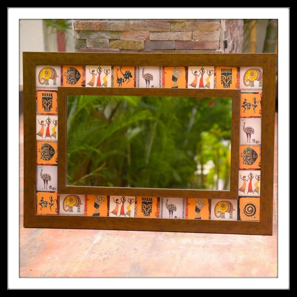 Handmade African Themed  Mirror (Small)