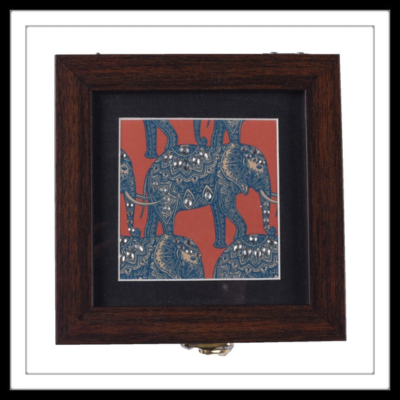 wooden small multipurpose box with batik elephant print, ideal for gifting and home use