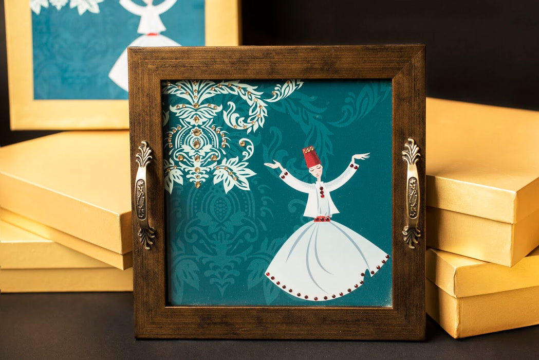 handmade tray with dancing dervishes print