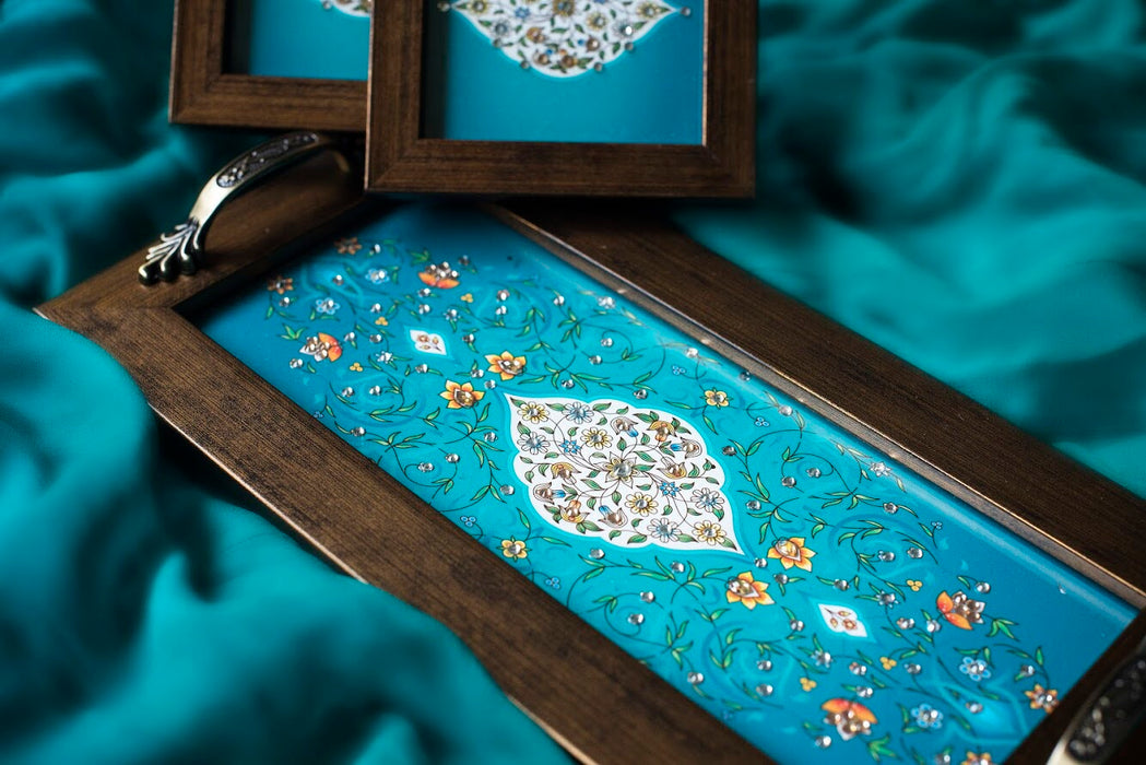 Handmade teal and white  tray and coasters set with mughal print and crystal work, suitable for gifting and weddings