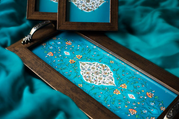 teal tray with coasters with bling