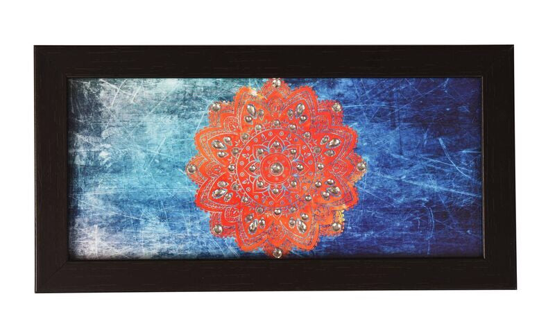 orange mandala on blue background organizer