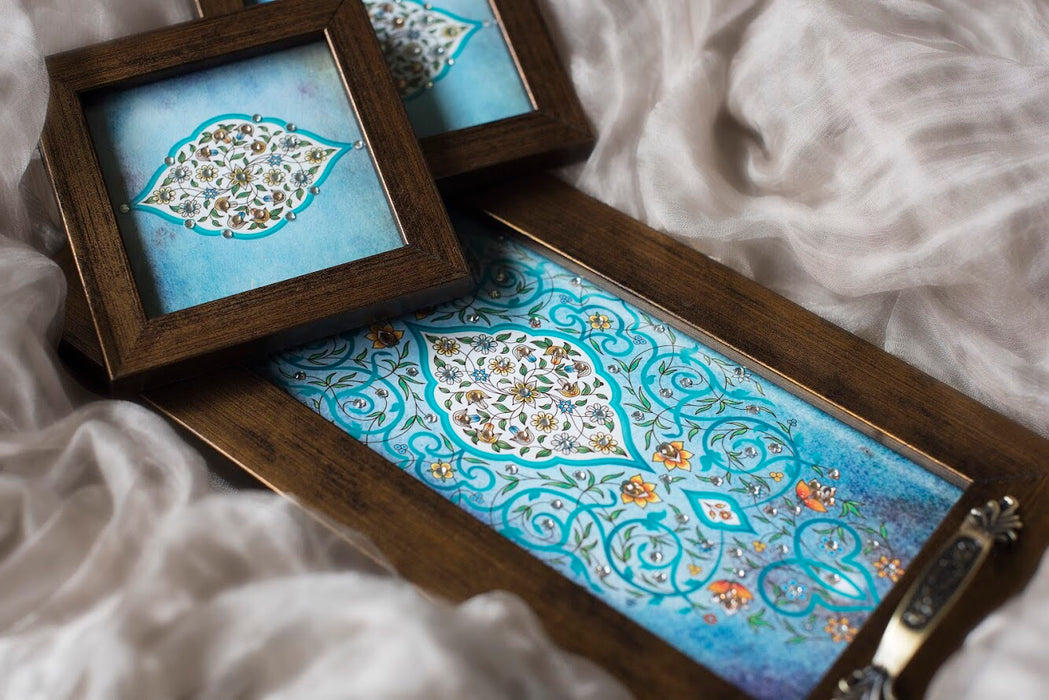 light blue tray with coasters with bling