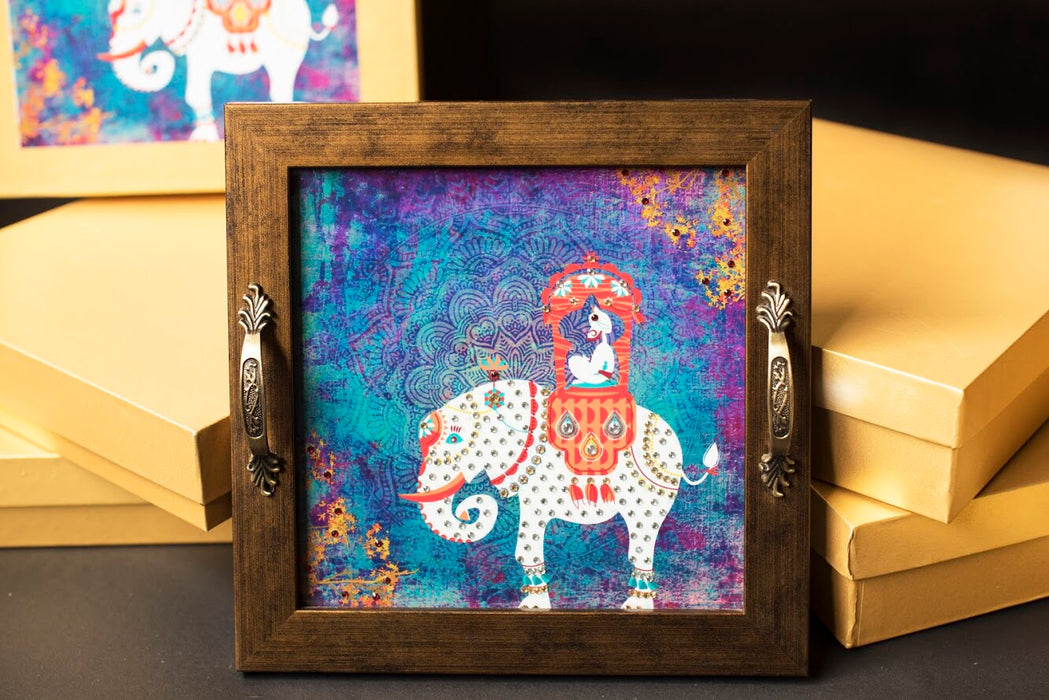 Maharaja on Elephant Square Tray - Footprints Forever