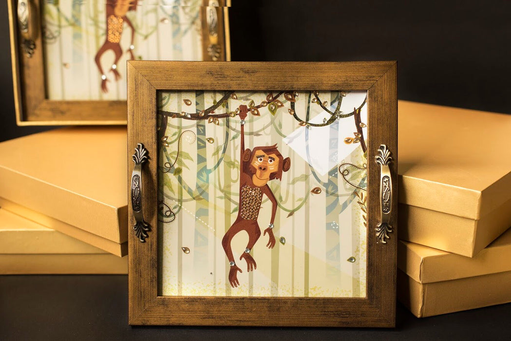 Funky Monkey Square Tray - Footprints Forever