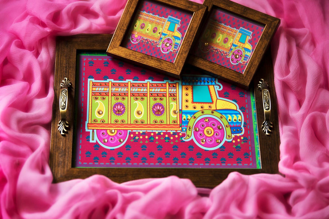 Pink Truck Tray and Coasters Set - Footprints Forever