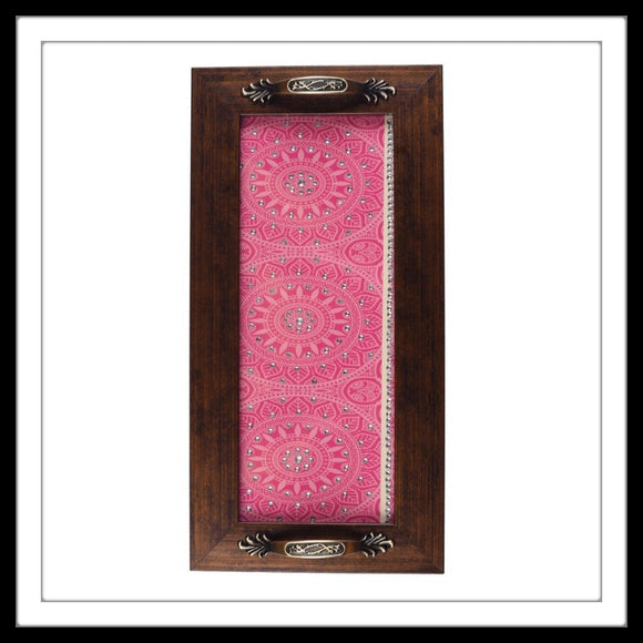 Pink & White Swirls Long Tray