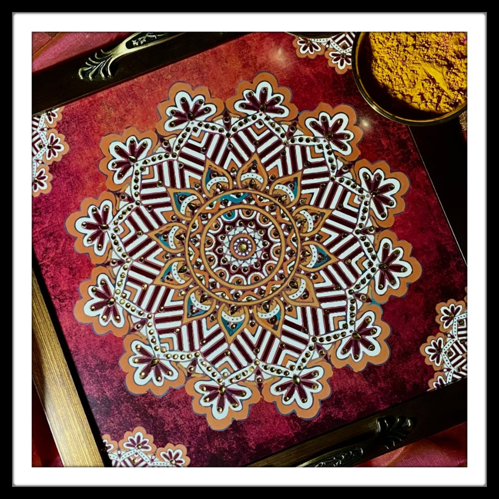 Shaded Red Mandala Square Tray