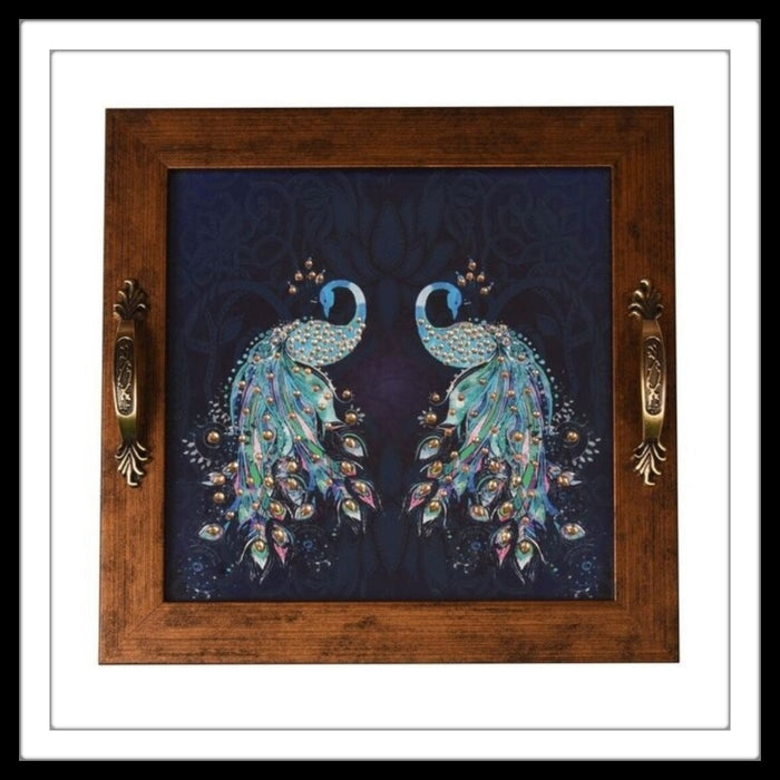 Navy Blue Double Peacock Square Tray - Footprints Forever