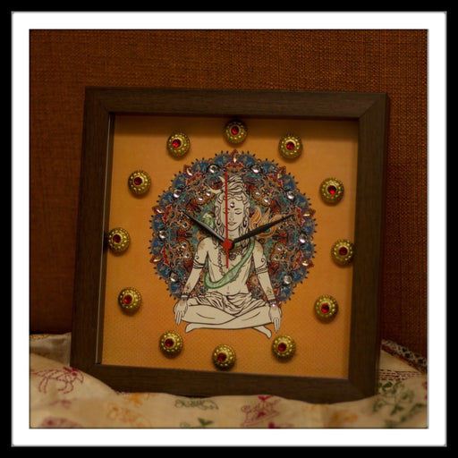 Handmade Clock with Lord Shiva and mandala Print in yellow background with brass stones, ideal for home decor and gifting.