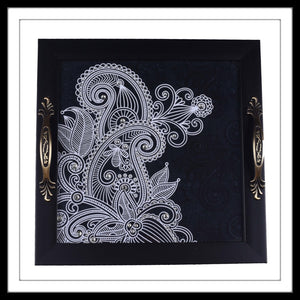 handmade decorative tray with black and white paisley print embellished with crystals
