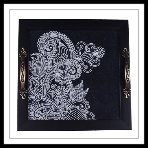 Black & White Paisley Square Tray - Footprints Forever