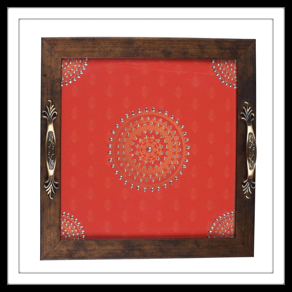 Candy Red Mandala Square  Tray - Footprints Forever