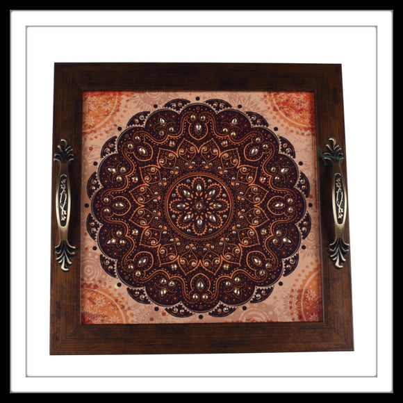 handmade embellished decorative Indian tray with rust colour mandala print