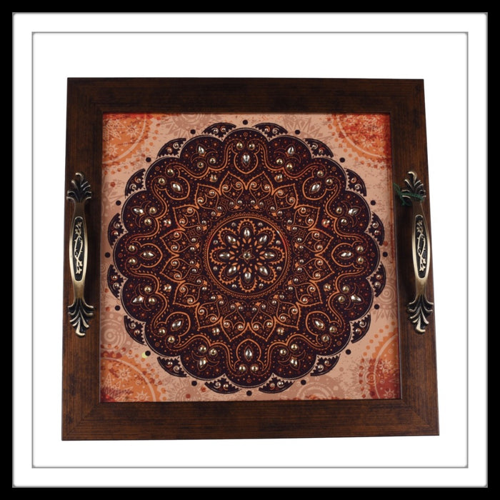 Rust Mandala Square Tray - Footprints Forever