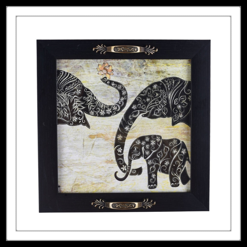 Black framed tray with elephant family print, hand embellished with crystals.