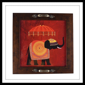 handmade embellished decorative indian tray with red colour elephant print