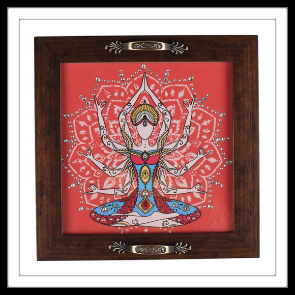 hand embellished serving tray with lady in yoga pose on orange background