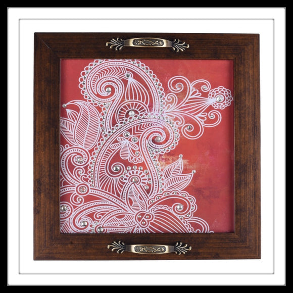 handmade decorative tray with red and white paisley print embellished with crystals