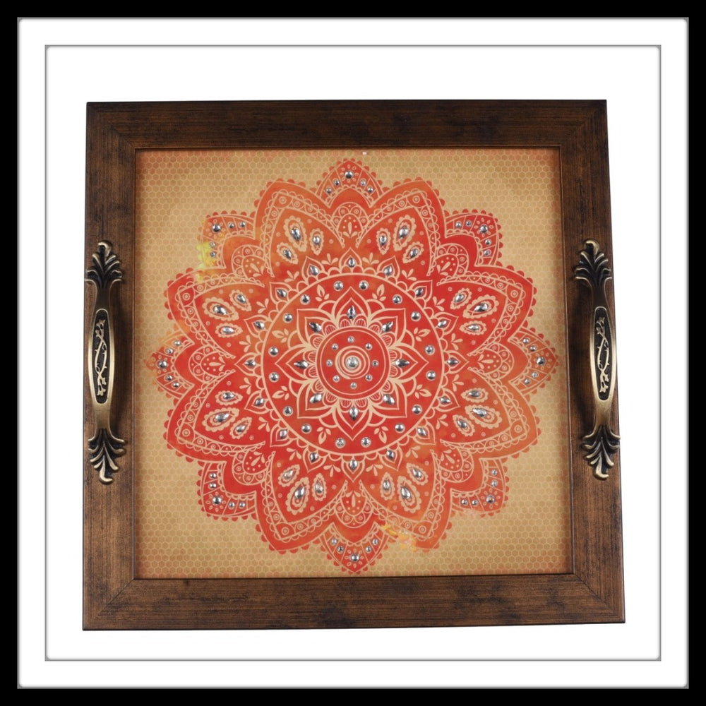 Cream and Orange Mandala Square Tray - Footprints Forever