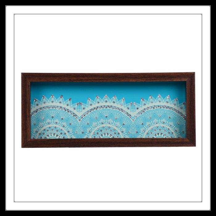 hand embellished multipurpose tray with blue and white half mandala print.